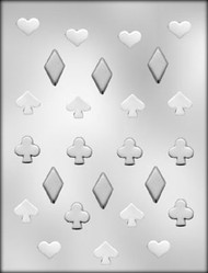 "3/4"" - 1-1/4"" PLAYING CARD SUIT CHOCOLATE CANDY MOLD"