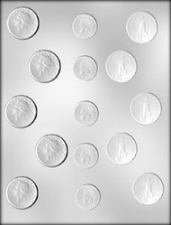 "1-1/8"" - 1-3/8"" ASSORTED COIN CHOCOLATE CANDY MOLD"