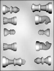 "1-3/8"" - 2-1/2"" CHESS PIECES CHOCOLATE CANDY MOLD"