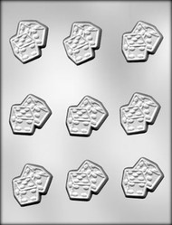 "1-3/4"" DICE PAIR CHOCOLATE CANDY MOLD"