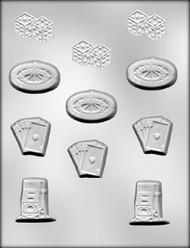 "1-3/4"" - 2"" GAMBLING ASSORTMENT CHOCOLATE CANDY MOLD"