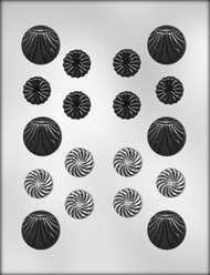 """1-1/8"""" & 1-1/2"""" FANCY ROUNDS ASSORT. CHOCOLATE CANDY MOLD"""
