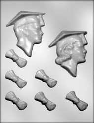 "3-3/4"" GRADUATE, 1-3/4"" DIPLOMA CHOCOLATE CANDY MOLD"