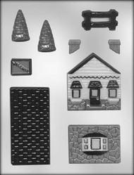 3-D HOUSE W/FENCE CHOCOLATE CANDY MOLD