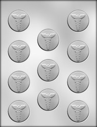 "1-1/2"" MEDICAL CADUCEUS MINT CHOCOLATE CANDY MOLD"