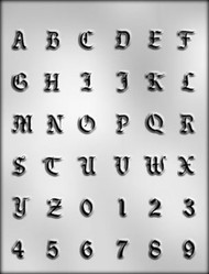 """5/8"""" LETTERS/NUMBERS CHOCOLATE CANDY MOLD"""