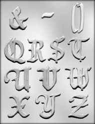 "2"" ALPHABET Q-Z CHOCOLATE CANDY MOLD"