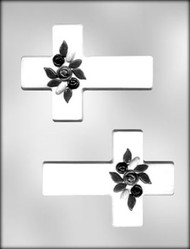 "5"" CROSS W /FLOWER CHOCOLATE CANDY MOLD"