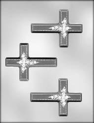 "4"" CROSS W/FLW CHOCOLATE CANDY MOLD"