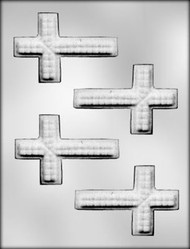 "3-3/4"" TEXTURED CROSS CHOCOLATE CANDY MOLD"