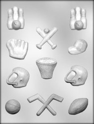"1-1/8"" - 1-7/8"" SPORTS ASSORTMENT CHOCOLATE CANDY MOLD"