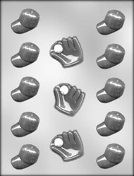 "1-1/8"" BASEBALL CAPS/GLOVES CHOCOLATE CANDY MOLD"