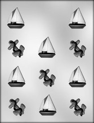 "1-5/8"" ANCHOR & SAIL BOAT CHOCOLATE CANDY MOLD"