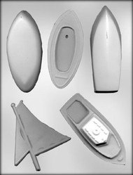 "4"" - 4-3/4"" 3D BOAT ASSORTMENT CHOCOLATE CANDY MOLD"