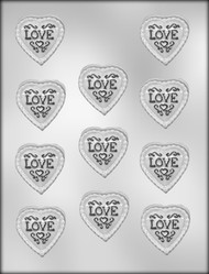"1-3/4"" LACEY HEART W/LOVE CHOCOLATE CANDY MOLD"