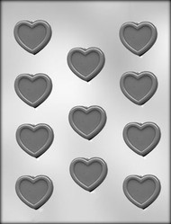 "1-5/8"" HEART W/BORDER CHOCOLATE CANDY MOLD"