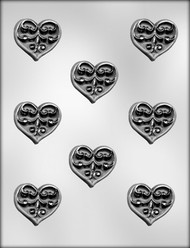 "1-3/4"" HEART W/SCROLL CHOCOLATE CANDY MOLD"