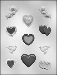 "2 -1/8""- 1-3/8""VALENTINE ASSORTMENT CHOCOLATE CANDY MOLD"