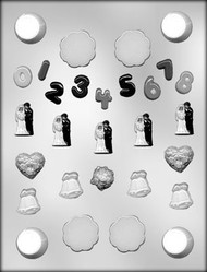 "1-1/8"" - 1-1/4"" MINI WEDDING CAKE TOP CHOCOLATE CANDY MOLD"