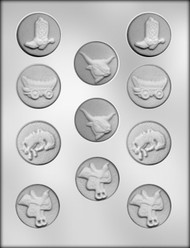 "1-5/8"" WESTERN MINT ASSTMT CHOCOLATE CANDY MOLD"