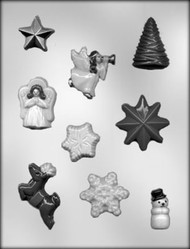 "1-1/4"" - 1-5/8"" CHRISTMAS ASSORTMENT #2 CHOCOLATE CANDY MOLD"
