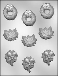 "1-3/4"" - 2"" CHRISTMAS ASSORTMENT CHOCOLATE CANDY MOLD"