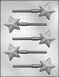 "3-9/16"" TEXTURED STAR SUCKER CHOCOLATE CANDY MOLD"