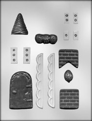 "7/8"" - 4-3/4"" GINGERBREAD HOUSE ACCESSORIES CHOCOLATE CANDY MOLD"