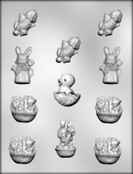 """2-1/4"""" - 1-1/2"""" EASTER ASSORTMENT CHOCOLATE CANDY MOLD"""