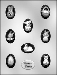 "1-3/4"" OVAL EASTER MINT CHOCOLATE CANDY MOLD"