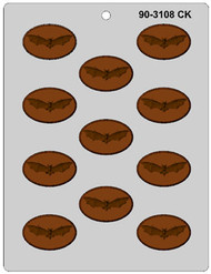 "1-7/8"" BAT OVAL MINT CHOCOLATE CANDY MOLD"