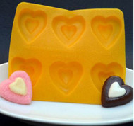 "6 CAV. 1-1/8"" HEART YELLOW FLEXIBLE MOLD"