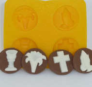 "4 CAV. YELLOW FLEXIBLE MOLD--1-1/4"" COMMUNION/CONFIRMATION"