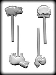 "1-3/4"" - 3"" FARM ANIMALS SUCKER HARD CANDY MOLD"