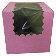 CUPCAKE BOX W/WINDOW STRAWBERY 4X4X4 PKG/100