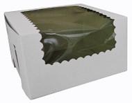 CUPCAKE BOX W/WINDOW WHITE 8X4X4 PKG/100