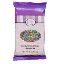 16 OZ RAINBOW CANDY-COATED, CHOCOLATE-FLAVORED CHIPS