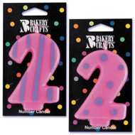 NUMBER CANDLE 2 STRIPES/DOTS--EA/1
