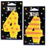 NUMBER CANDLE 4 STRIPES/DOTS--EA/1