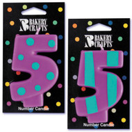 NUMBER CANDLE 5 STRIPES/DOTS--EA/1