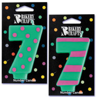 NUMBER CANDLE 7 STRIPES/DOTS--EA/1