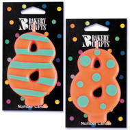 NUMBER CANDLE 8 STRIPES/DOTS--EA/1