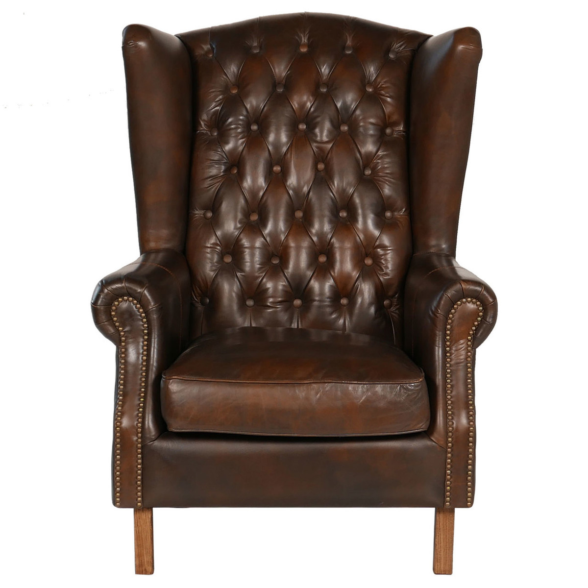 Old World Antique Leather Wing Chair