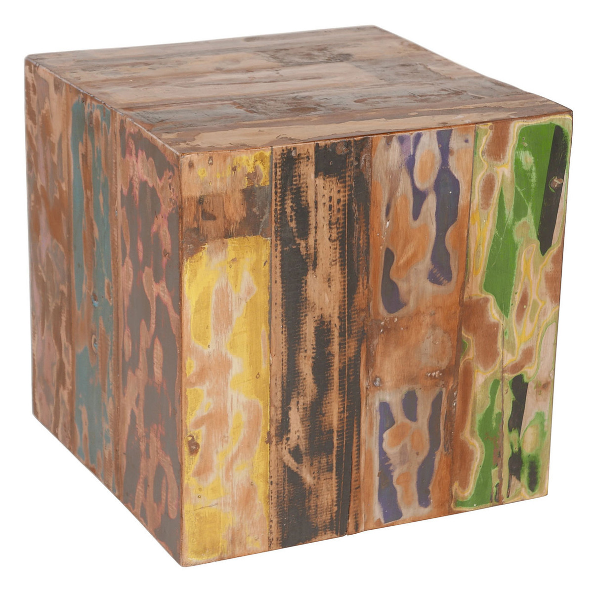 Reclaimed Boat Wood Cube Stool / Table