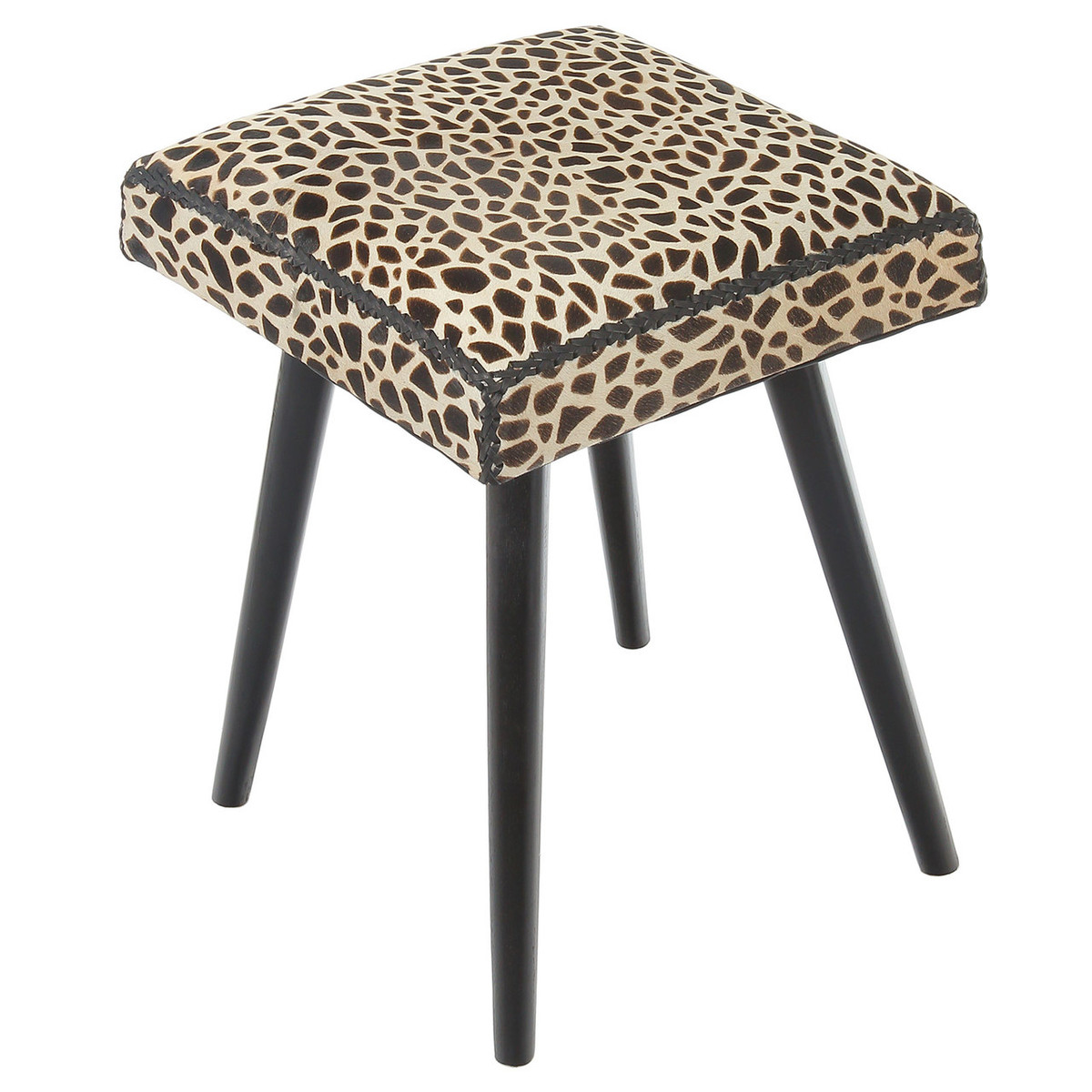 Safari Cow Hide Amp Mahogany Accent Stool Leopard Print