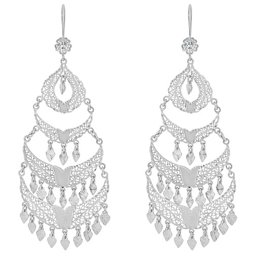 14k Gold White Rhodium Large Fancy Filigree Chandelier Drop Earring Created CZ Crystals E034