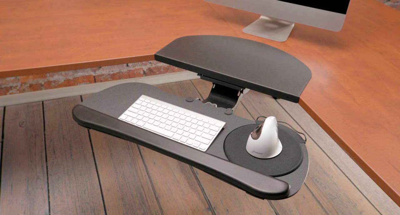 keep your work surface nice and tidy with the optimally adjustable uplift large keyboard tray