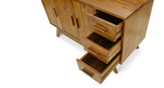 Features three spacious cabinets and three drawers