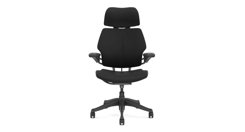 The Freedom Chair's position-sensitive headrest moves into place when you recline and out of the way when you sit upright