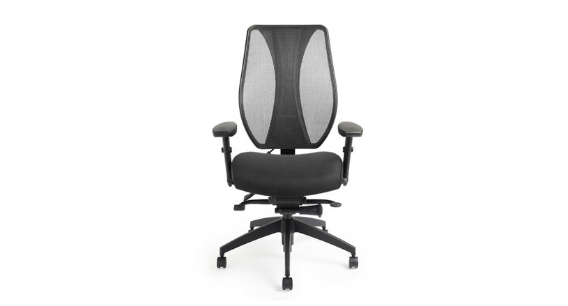 A contoured mesh backrest keeps you cool at work by promoting airflow while maintaining support
